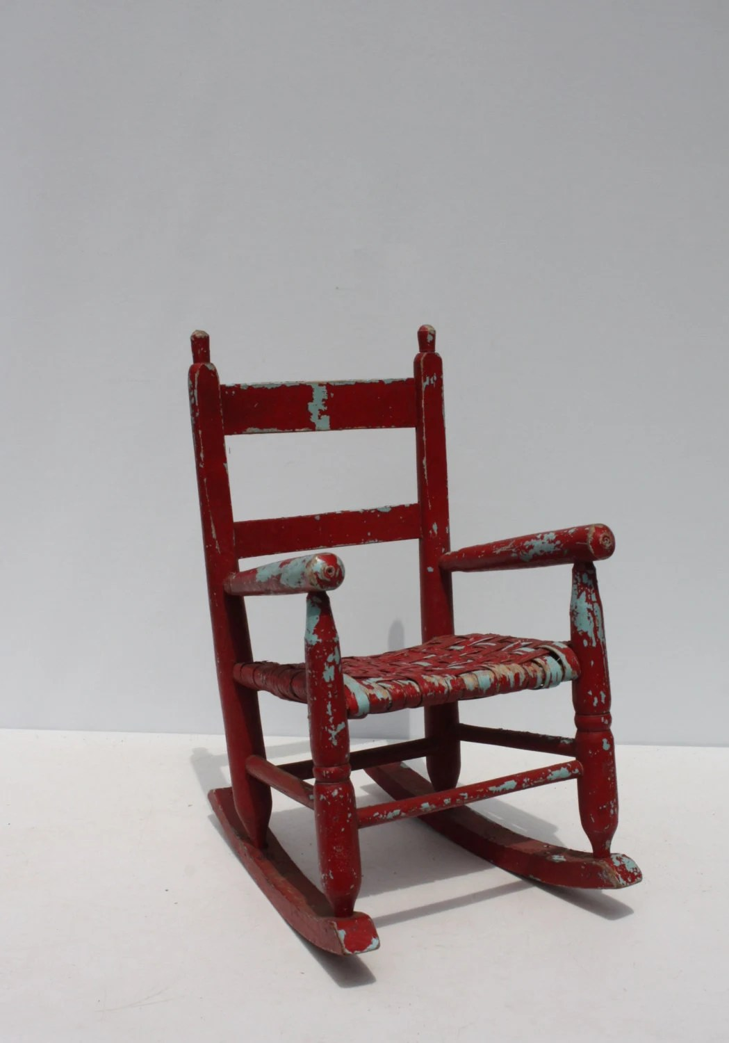 antique wooden rocking chairs kohls dining vintage child 39s chair wood woven seat red