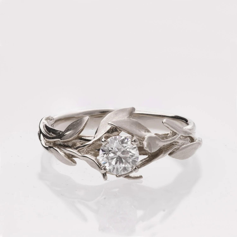 Leaves Engagement Ring No 4 Platinum engagement ring
