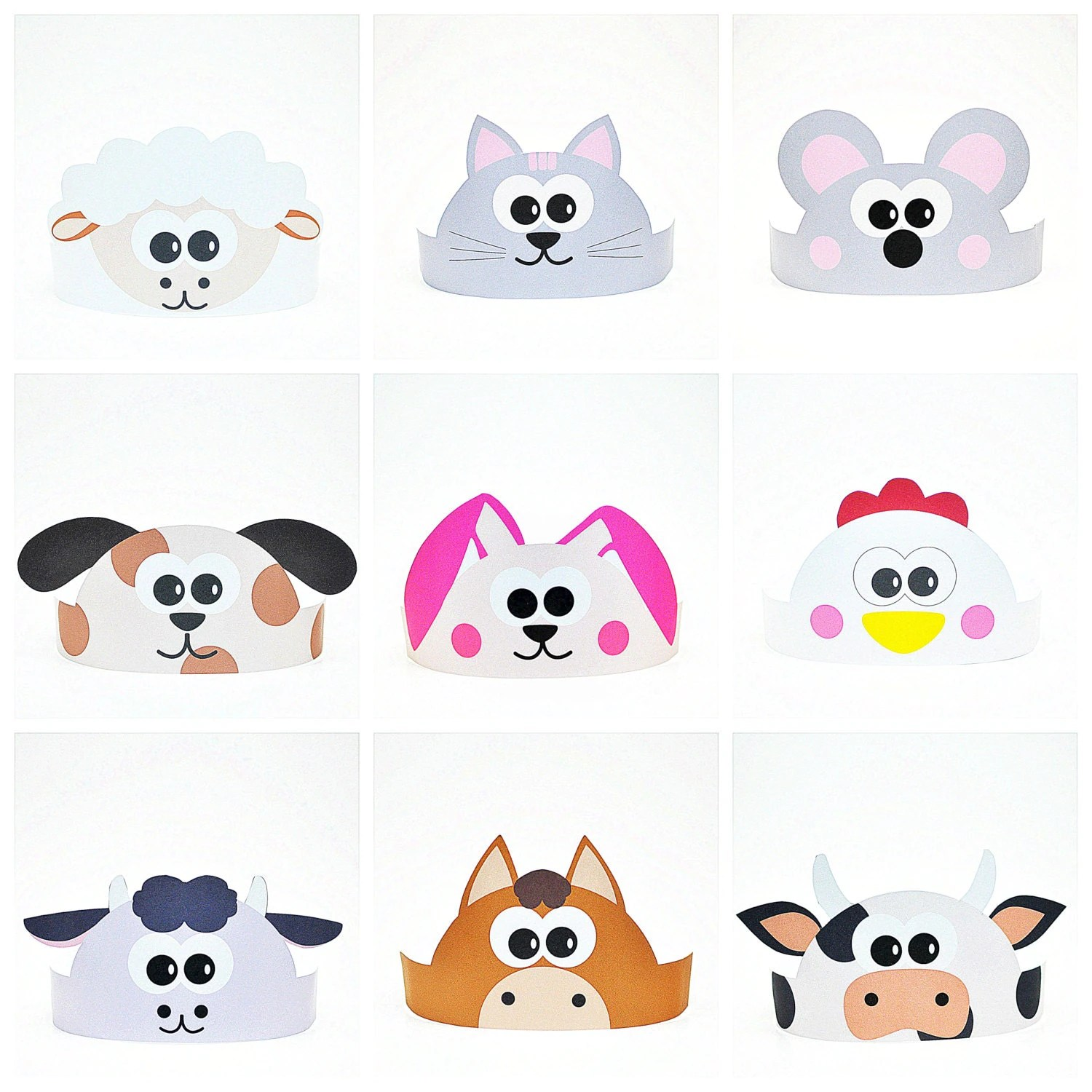 11 Farm Animals Paper Crowns Set Diy Paper Hats Template Kit