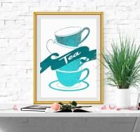 Kitchen decor Kitchen printable Turquoise Kitchen wall art