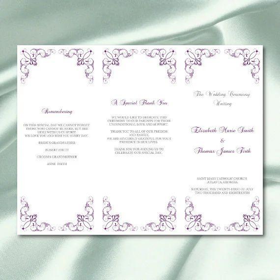 tri fold wedding programs