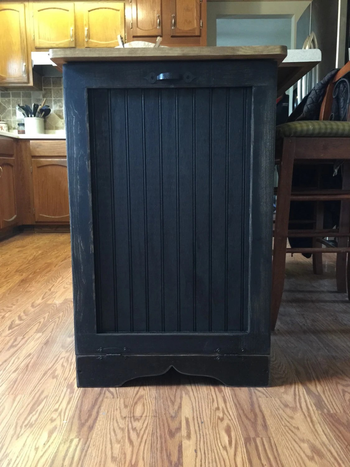 Primitive Wood Trash Can Bin Tilt out Door by
