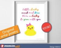 Original Nursery Poem Rubber Ducky Wall Art PRINTABLE / Ducky