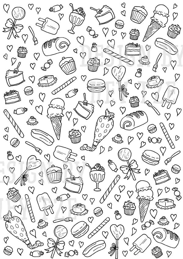 Sweets And Pastries Colouring Page sweets colouring page