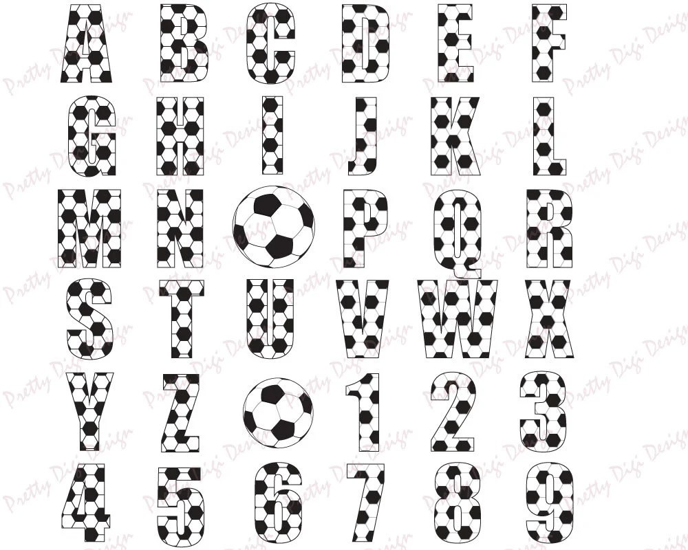 Soccer letters and numbers, Football clip art, Card