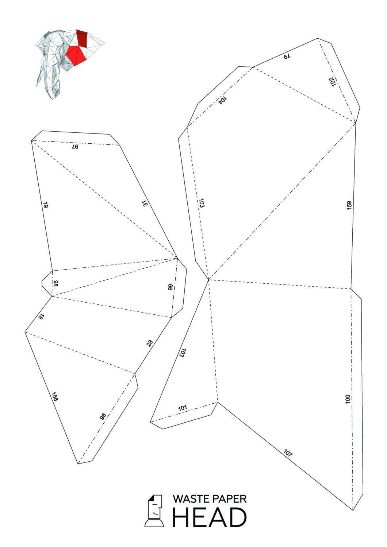 Papercraft Elephant Head 2 Printable Diy Template