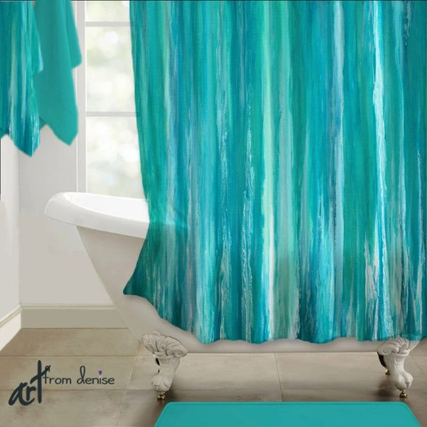Teal Turquoise Shower Curtain