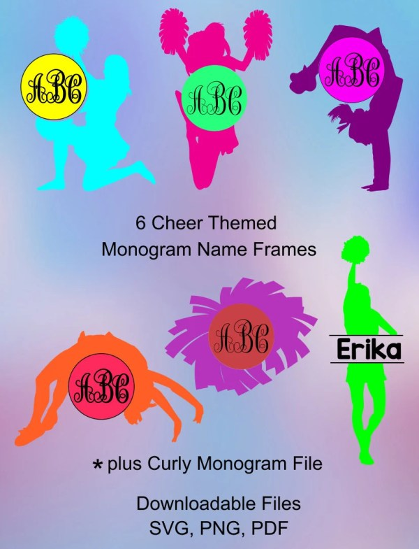Cheer Monogram Svg Frames. Cheerleading Vinyl Cutting Files