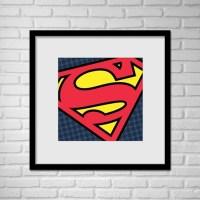 Superhero Superman Pop Art Wall Art / Superman Logo Pop Art