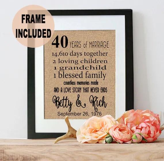 40th Anniversary Gift 40th Wedding Anniversary Gift 40 Years