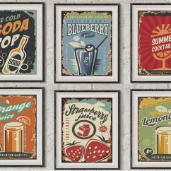 Vintage Posters For Kitchen Free Standing Pantry Cabinet Set Of 6 Retro Wall Art Prints Decor