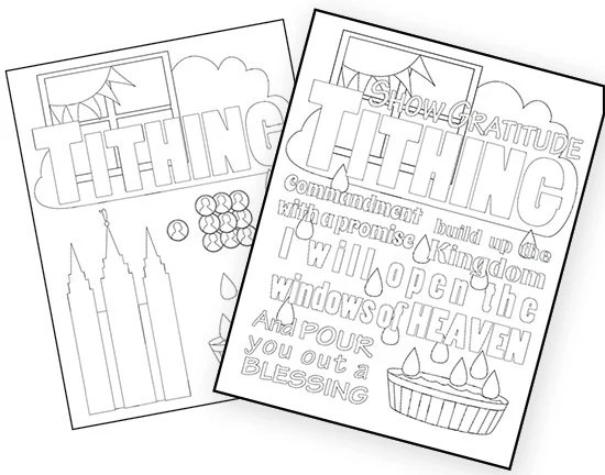 Tithing Coloring Pages from MaryTcreates on Etsy Studio
