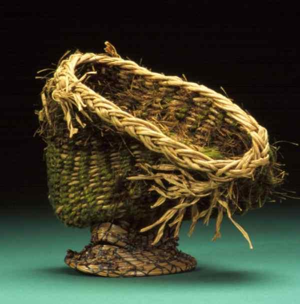 Fiber Art Woven Sculpture Basket Wicker Textural