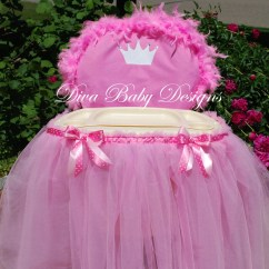 High Chair Tutu Linen Tufted Pink Cover And Tray Tulle Skirt