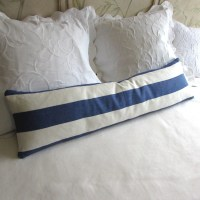 decorative daybed bolster pillow LINEN STRIPES blue fabric
