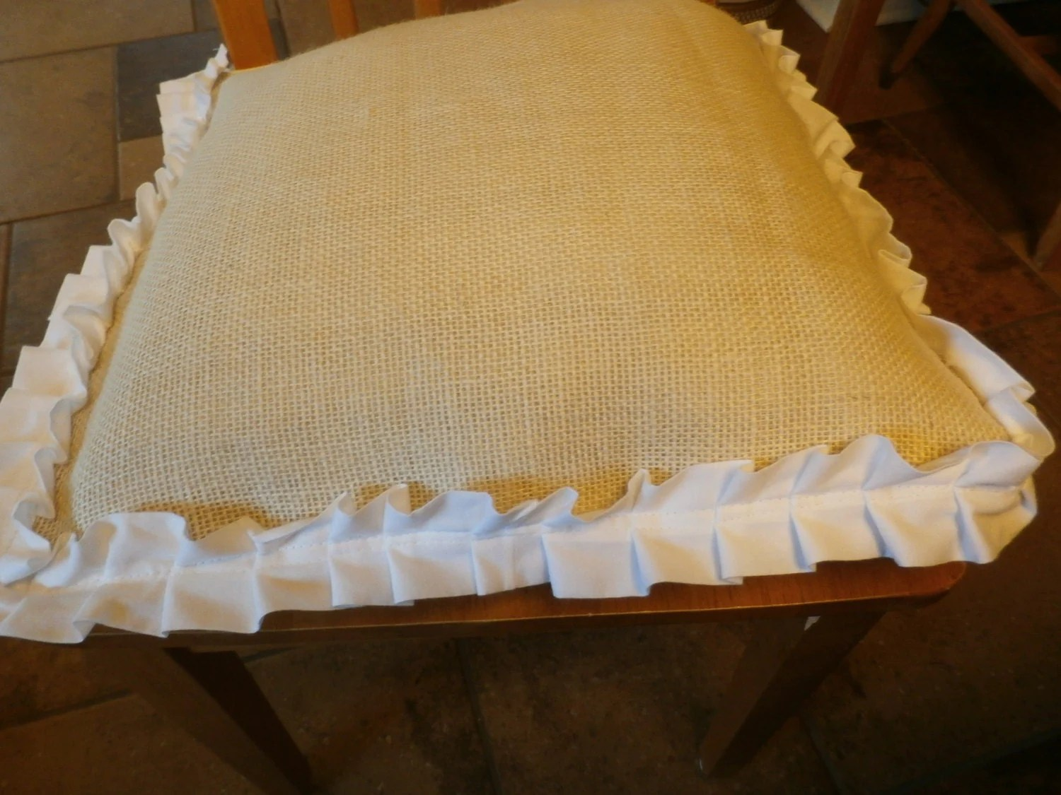 burlap chair covers ideas cheap kitchen table and chairs seat oatmeal cover white ruffled edge with
