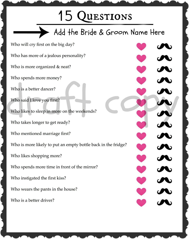 Braut und Bräutigam-Quiz Hochzeit Dusche Spiel