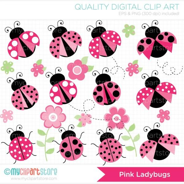 clipart pretty pink ladybugs digital
