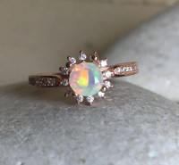 Opal Rose Gold Ring- Opal Engagement Ring- Halo Opal ...