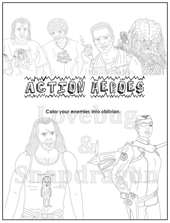 Action Heroes Coloring Book // Instant Printable Digital File