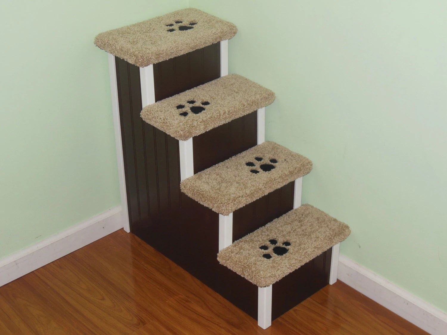 dog high chair red metal chairs pet stairs 28 wooden steps handmade in usa