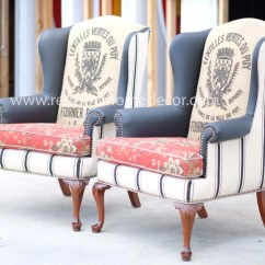 Upholstered Wingback Chair Black And White Striped Custom Order Jodi 39s
