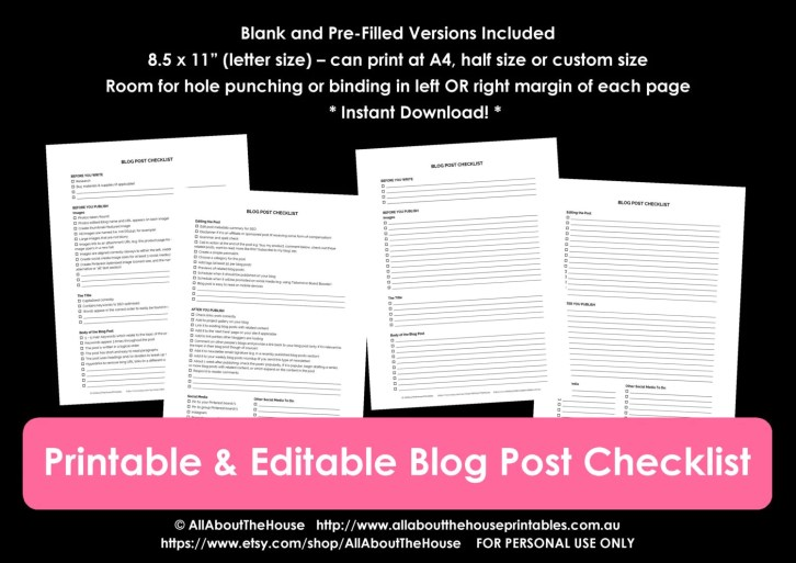 free printable blog post checklist editable workflow template free blogging resource how to write a blog post 10 things to add must do seo optomise