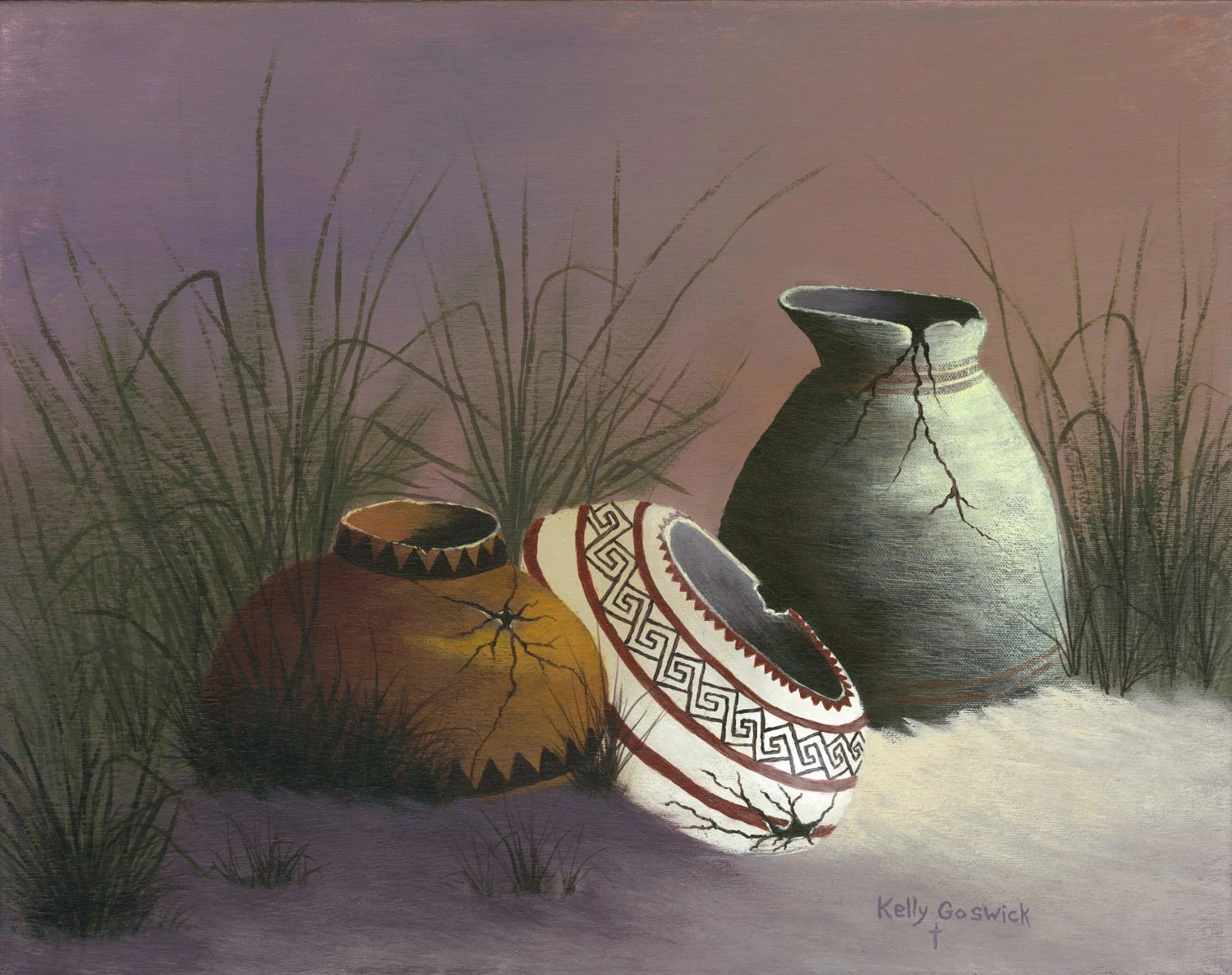 A Giclee Print Of Native American Pottery Broken And