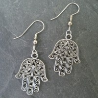 Hamsa Earrings/ Silver Hamsa Earrings/ Hamsa Charm Earrings/