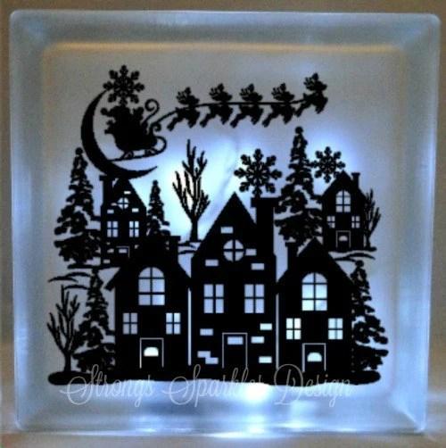 Santa Claus Christmas Vinyl Decal DIY For Glass Block