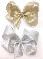 gold hair bows silver