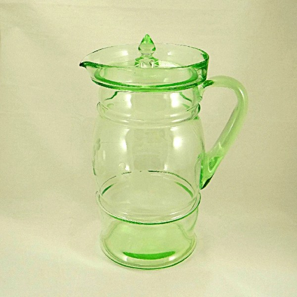 Dunbar Glass Water Pitcher With Lid Green Depression Glassware