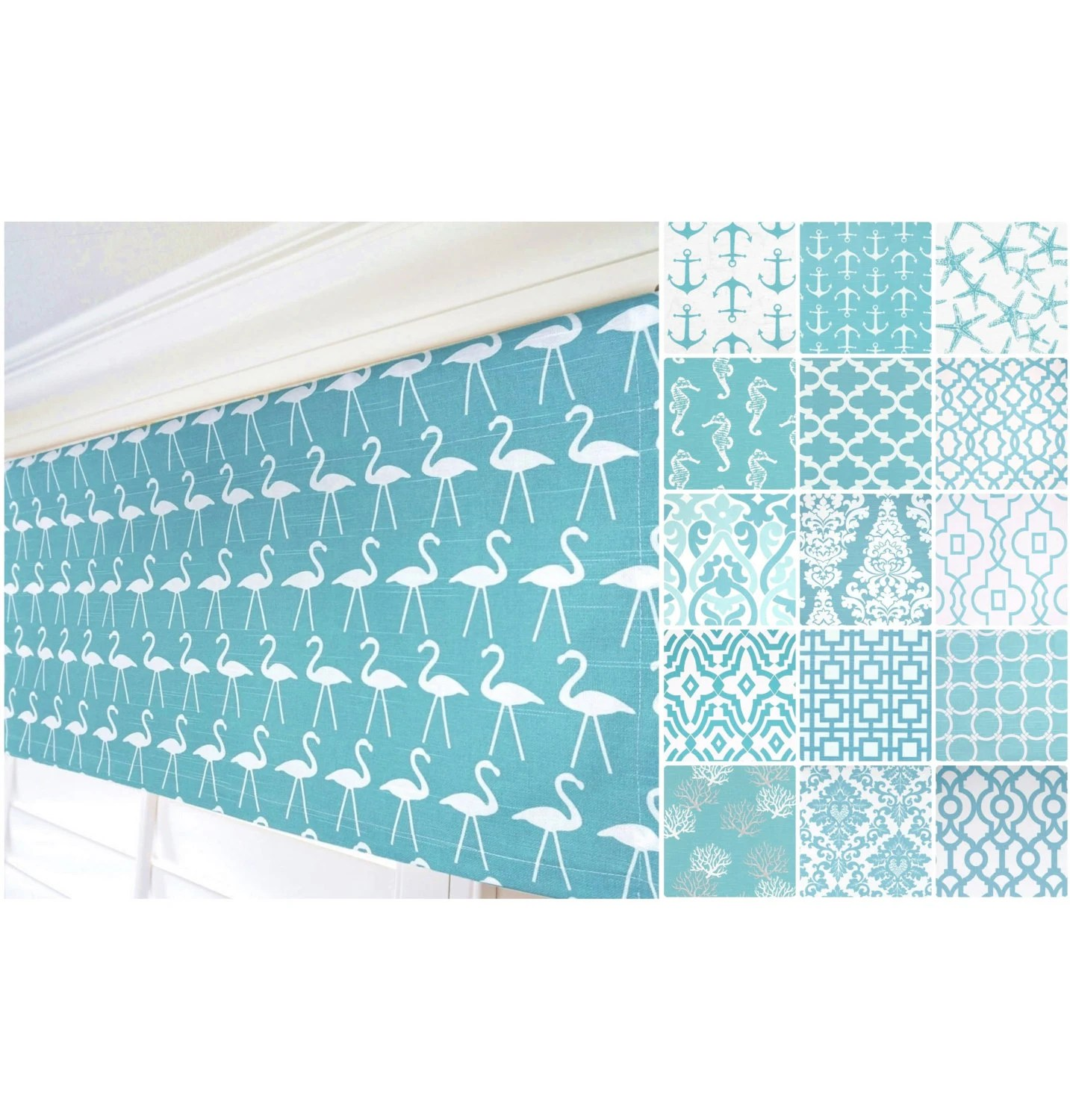 Aqua Valance Curtain Grey Curtain Nautical Anchor Curtain