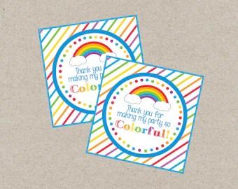 Rainbow Favor Tag Rainbow Gift Tag Rainbow Party Printable