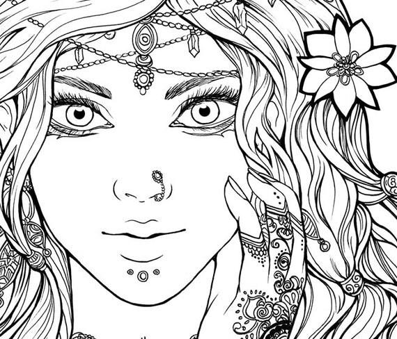 DIGITAL STAMP Beautiful gypsy portrait. Esmeralda / Arabic