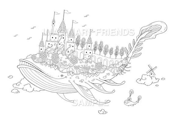 Whale castle Coloring Page A4 size 210 297mm / A3 size