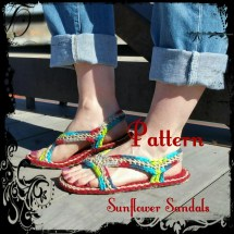 Crochet Sandals Pattern Sunflower Teen Women Mens
