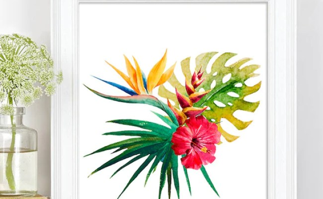 Tropical Botanical Wall Art Modern Home Decor By