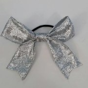 silver glitter sparkly cheer bow