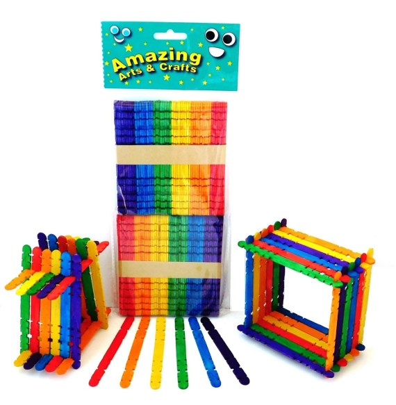Building Lollipop Sticks, Assorted Colours 100 Pieces