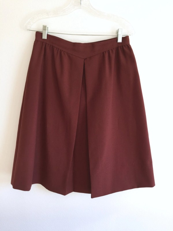 Brown -line Skirt Knee Length Front Pleated