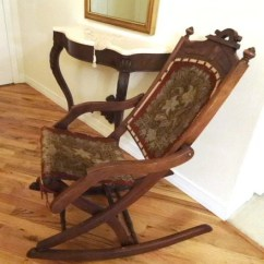 Antique Victorian Folding Rocking Chair Genuine Leather Dining Room Chairs Rocker With Tapestry Upholstery