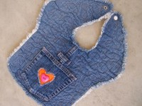 Recycled denim baby bib free-motion quilting upcycled jeans