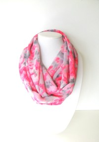 Infinity Floral Scarf Hot Pink Scarf Women's Scarves