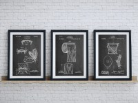 Bathroom Art Patent Posters Group of 3 Bathroom Wall Decor
