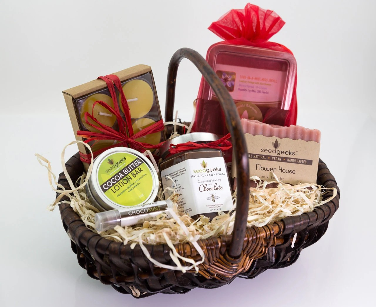 Chocolate & Flowers Gift Basket Soap Lip Balm Cocoa Lotion