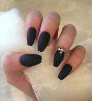 matte black coffin nails with rhinestones