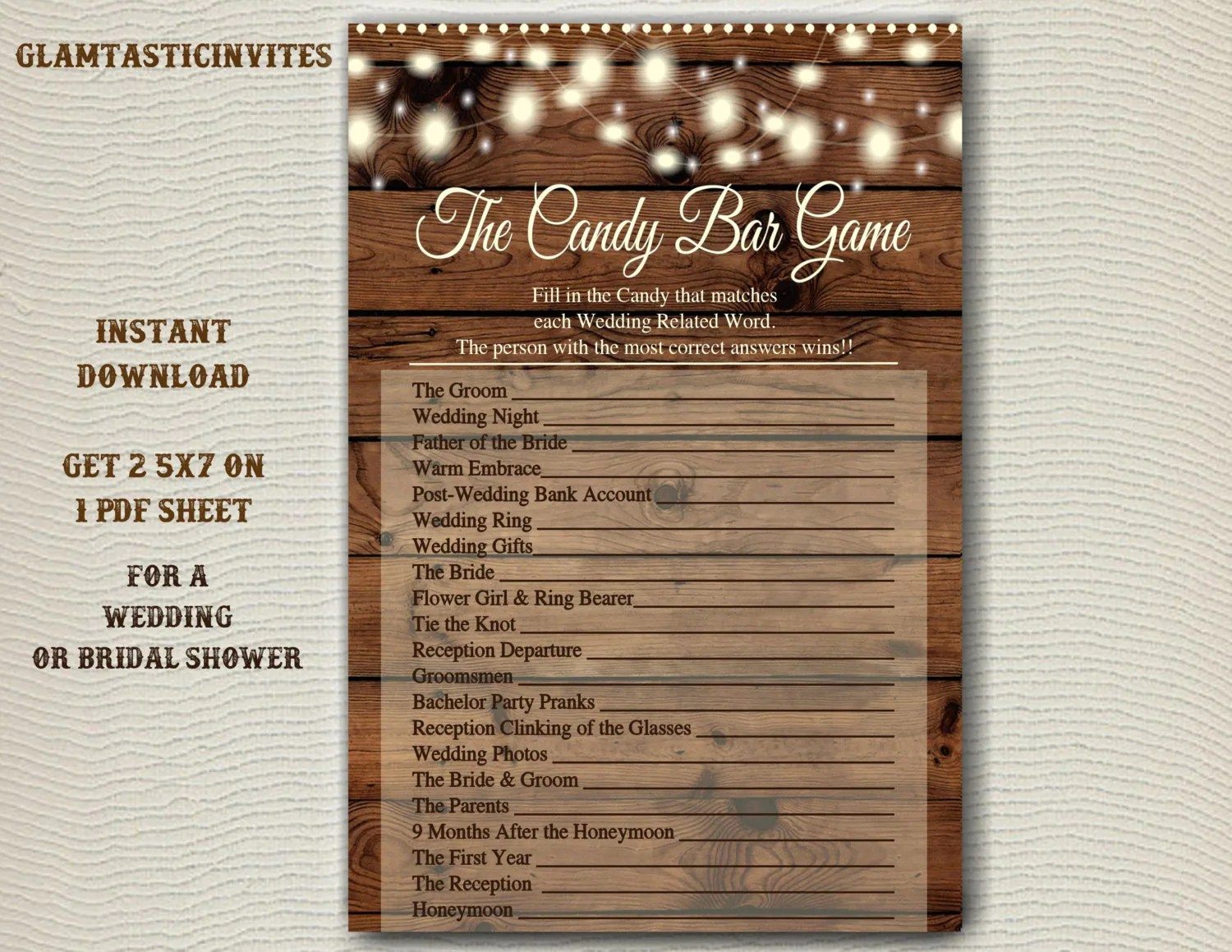 Bridal Shower Candy Game Candy Bar Game Rustic Bridal