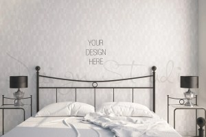 blank bedroom wall styled prints poster mockup