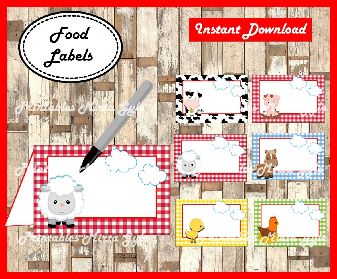 Farm Animals Food Labels Printable Farm Party Food Tent Cards